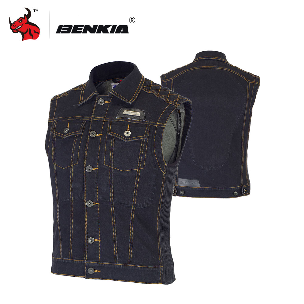 BENKIA Chaleco Reflectante Motocicleta Chaleco Ciclismo Motorcycle Racing Denim Jacket Vest Jean Jacket With Protectors stone wash denim jacket with pockets