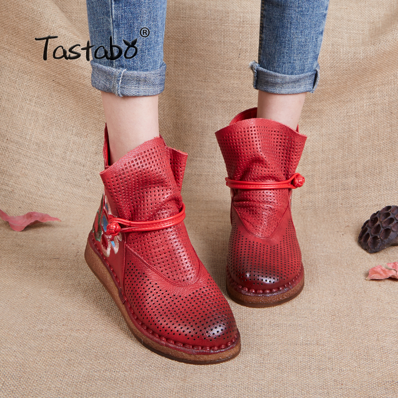 Tastabo Shoes Women Retro Casual Handmade Ankle Boots Flat Real Genuine Leather Women Shoes Breathable booties