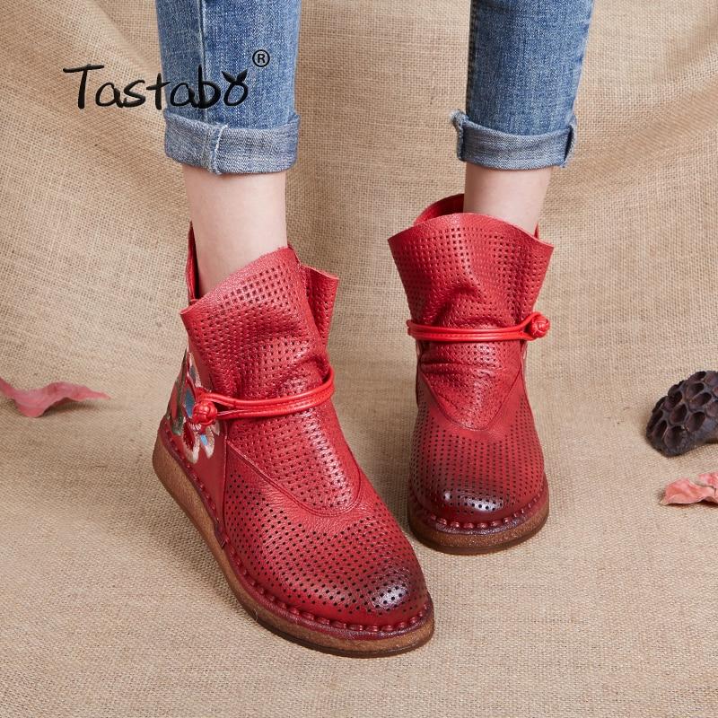 Cheville Rétro Bottes Femmes Respirant Réel Occasionnel Chaussons La Main À Cuir Confortable Plat Tastabo Pied Véritable Red Chaussures nqwxCE0E8