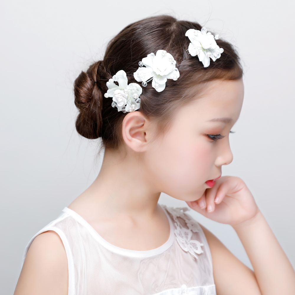 white fabric flower hair clips