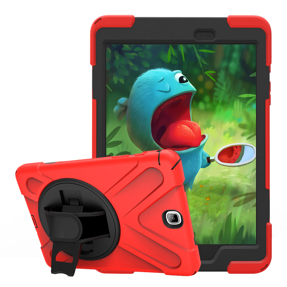 T550 Kids Case For Samsung Galaxy Tab A 9.7 SM-T550 T555 Tablet Case Silicone+PC Kickstand Hard Cover With Wrist +Shoulder Strap