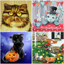 5D Diamond Painting Full Square Drill Fantasy Cute Cat And kittens Embroidery Animal Mosaic Cartoon Round New Arrival