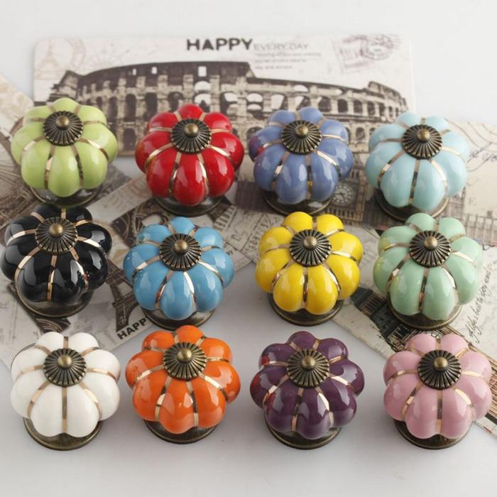 12 Colours Ceramic Handle Pull Knobs Kitchen Cabinet Pumpkin Door ...