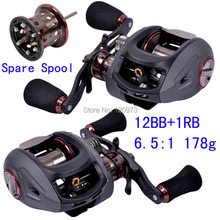 Haibo SMART 6.5:1 12BB+1RB 178g Full Metal Bait Casting Lure Reel 2 Spools All Metal Left/Right Hand Baitcasting Fishing Reels