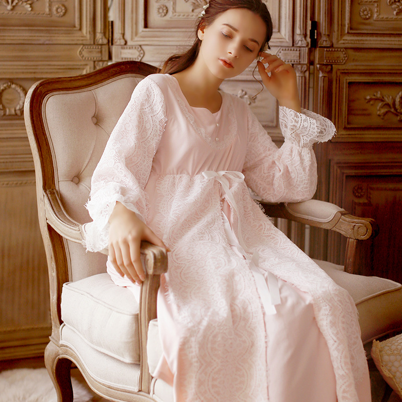 Autumn Winter New Sleepers Long Sleeved Nightdress Lace Coral Velvet Warm High-end Court Retro Sweet Long Sleeved Women Dresses marulong s0002 women s fashionable flower pattern short sleeved nightdress green multi color