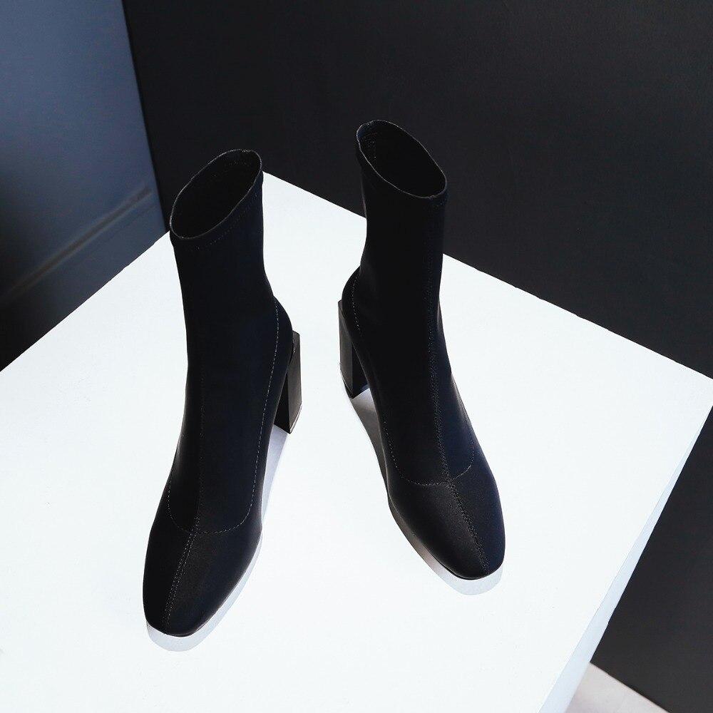 Mujer Alto Stretch Elástico Mujeres Heel Heel Negro Pantorrilla Tela Zawsthia Bombas De La Zapatos Diseñador Black Lycra Mitad Botas Tacón Tacones 2018 yellow Primavera Altos Iq8wXaU