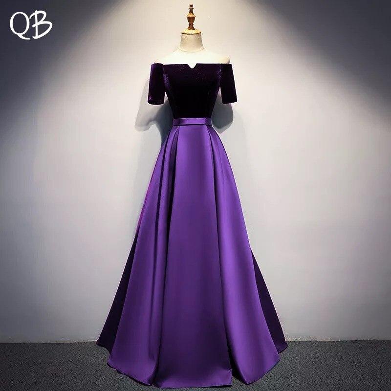 Vintage Purple Blue A-line Short Sleeve Satin Velour   Evening     Dresses   2019 New Fashion   Evening   Gowns XH446
