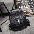 Промывочной воды кожа рюкзак мода мягкая кожа сумка женщин ткачество водонепроницаемый рюкзак путешествия