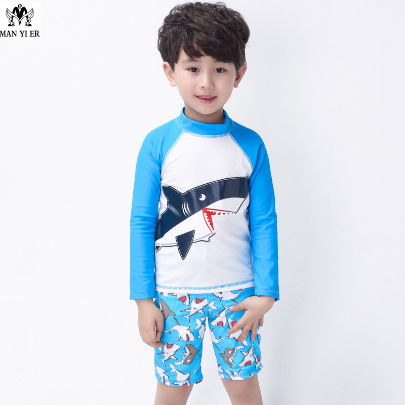 2016 New Children Boys Swimsuit High Quality Acrylic Swimwear Kids Swimsuit +Swimming Trunks Bathing Suit freeshipping