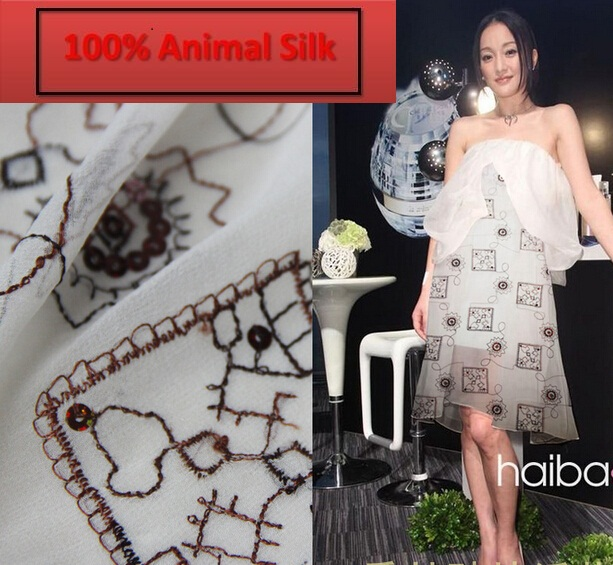 100% pure mulberry soft Silk fabrics White Silk georgette embroidered patch Coat Skirt Scarf dressmaking materials yards I327- gold jade objects and silk fabrics 50g