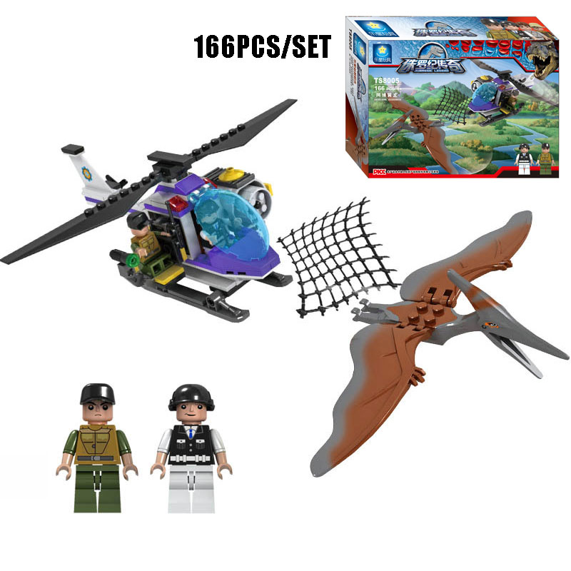 166PCS <font><b>Jurassic</b></font> Park <font><b>World</b></font> <font><b>Pterodactyl</b></font> Net Hunting Model Building Blocks Dinosaur Hunter Minifigures Bricks Toys For Kids Gifts