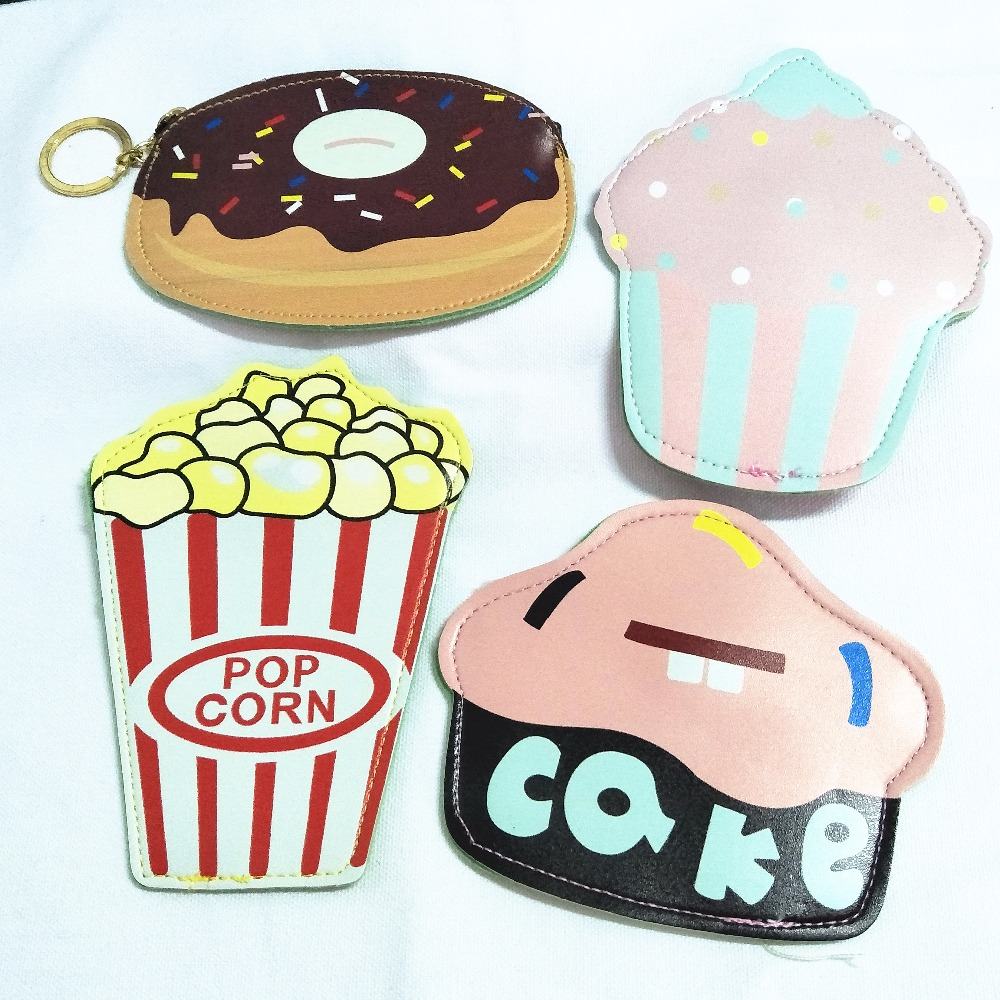 M023 Cute Cartoon Ice Cream Cake Hamburger Pizza And Doughnut Coin Purse Wallet Card Bag Girl Women Student Gift Wholesale