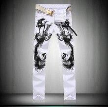 Новые белые джинсы черное пламя печатных джинсы дизайнерский бренд высокой скорости мужчина джинсы штаны случайные мужские бегунов размер 28 до 36 MB522 Z20