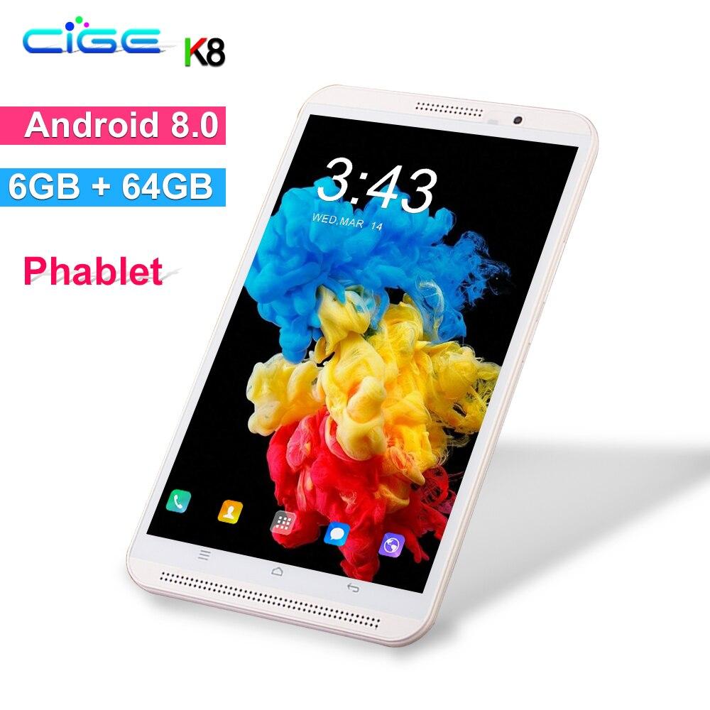 Frete grátis 8 polegada tablet PC Octa Núcleo 64 6 GB de RAM GB ROM Android 8.0 Bluetooth Wi-fi Dual SIM cartões 3G 4G LTE Tablets + Presentes