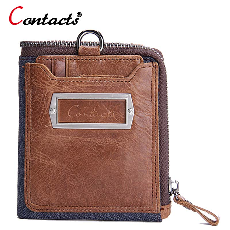 ФОТО CONTACT'S Genuine Leather Wallet Credit Card Holder Purse Crazy Horse passport cover Male Pockets Designer fashion men wallet