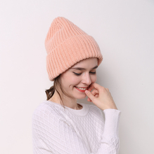 Thick Wool Knitted Hats Skullies Beanies Flanging For Women Ladies Unisex Autumn Winter Warm Female Caps