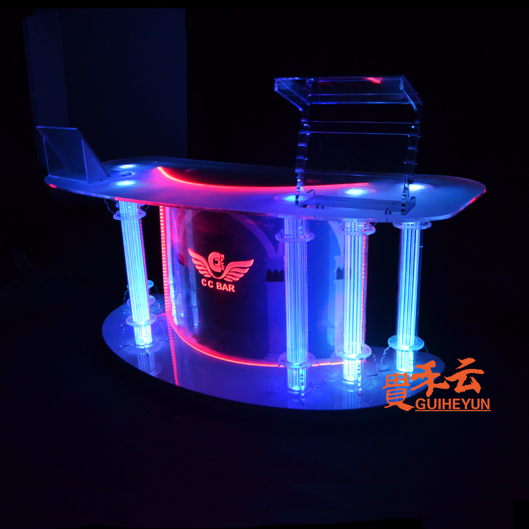 Acrylic DJ Table Disc Table KTV Bar DJ Mixer Nightclub LED Lighting Dance Table Colorful Lighting Counter