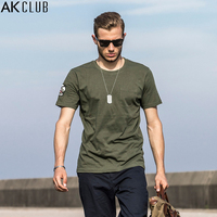 AK CLUB Brand Men T shirt Vintage Series Military Style T Shirt Flying Tigers Embroidery AVG Arm Badge Short Sleeve Tee 1700103