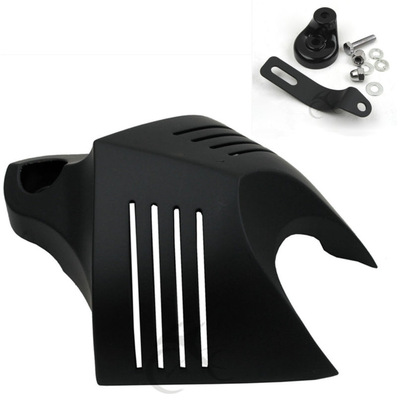 Black HORN COVER For Harley Softail Dyna Glide Big Twin Electra Road King 1992-2012 black skull horn carburetor cover for harley davidson softail dyna sportster glide big twin electra