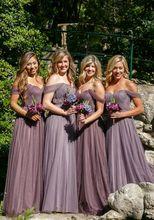 2017 Elegant Cheap Bridesmaid Dress A-line Off Shoulder Lavendar Tulle Long New Arrival Bridesmaid Dresses