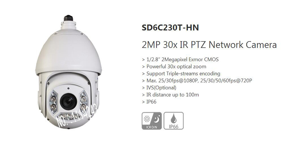 DAHUA Full HD 30X PTZ Dome Camera 1080P Network IR PTZ Dome Camera IP66 with 100M IR Distance without Logo SD6C230T-HN dahua 4mp ptz full hd 30x network ir ptz