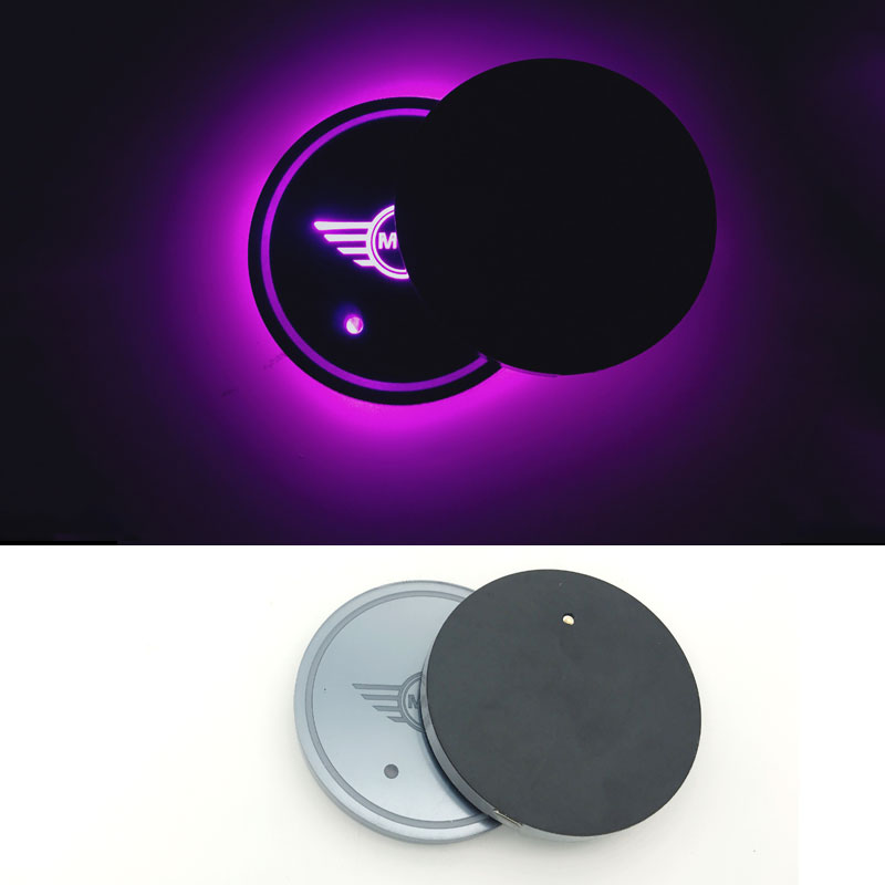 Methodical 2pc Car Styling For Bmw Mini Cooper S R50 R53 R56 R60 F55 F56 R57 Car Colorful Led Light Lamp Cup Holder Mat Pad Bottle Built-in Interior Accessories