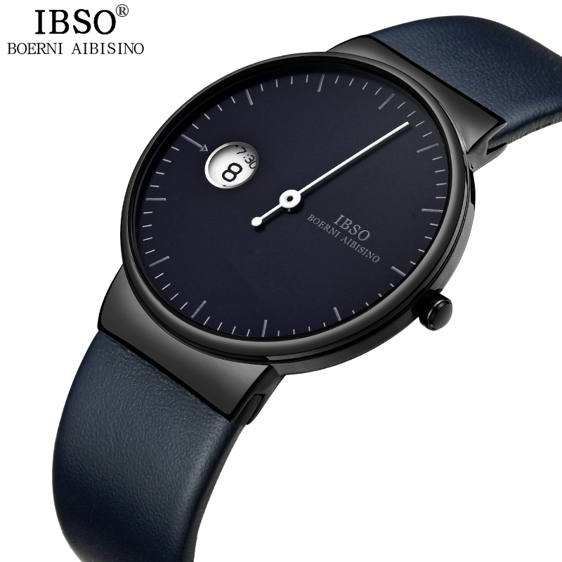 IBSO Ultra-thin Quartz Watch Men Fashion One Pointer Design