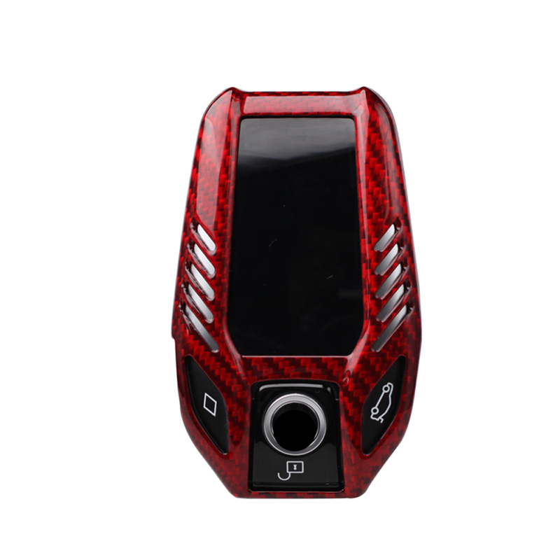 Red Carbon fiber LCD Car Key shell cover For BMW G30 G11 G12 X3 F26 GT
