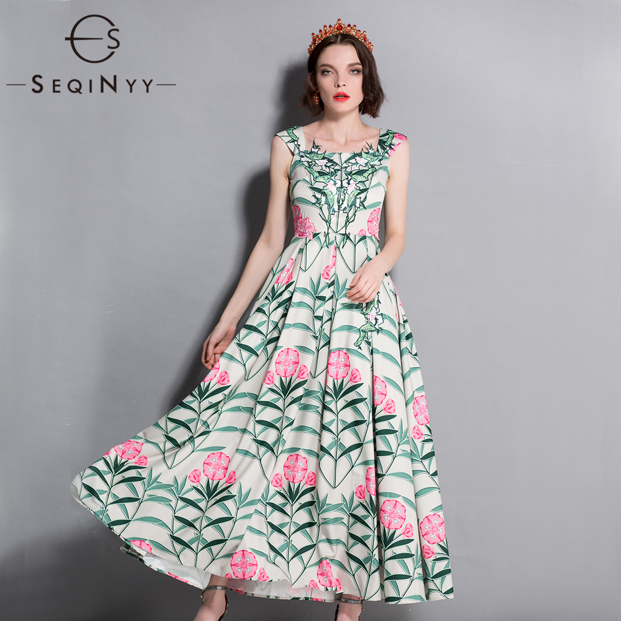 SEQINYY Romantic Holiday Dress Pink Flowers Green Leafs Printed 2018 Summer New Sexy Off the Shoulder High Quality Women's Dress the new high quality imported green cowboy training cow matador thrilling backdrop of competitive entrance papeles
