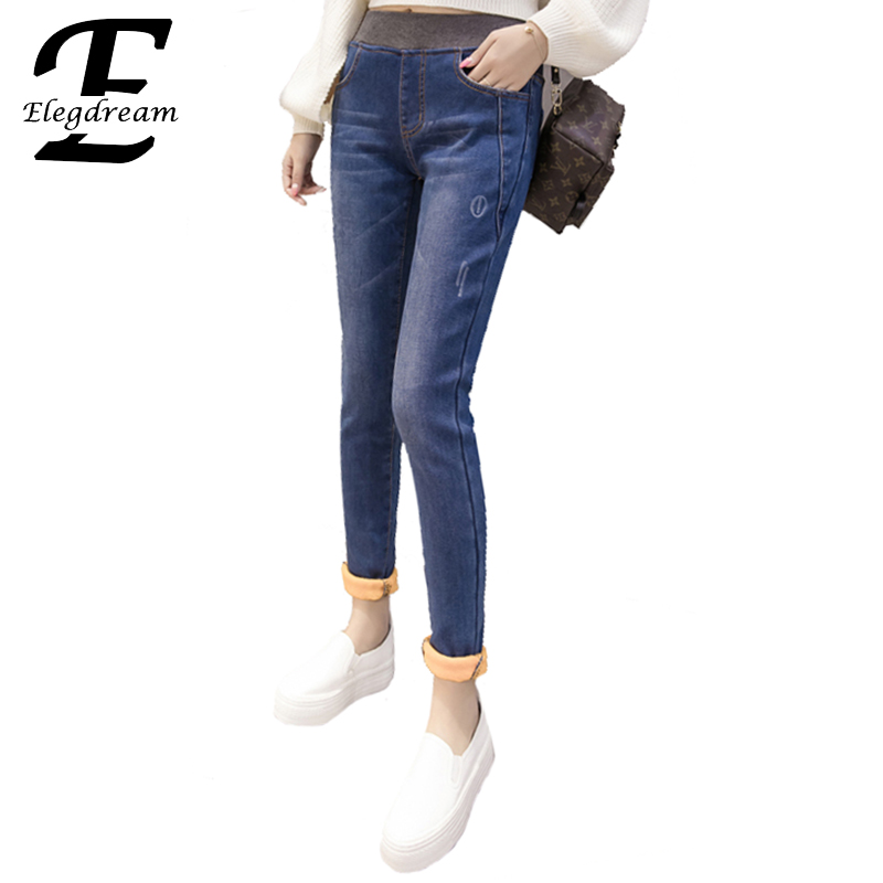 где купить Elegdream 2017 Autumn Winter Women Ankle Length Cuffs Velvet Jeans Stretch Skinny Female Slim Pencil Pants Denim Ladies Trousers по лучшей цене
