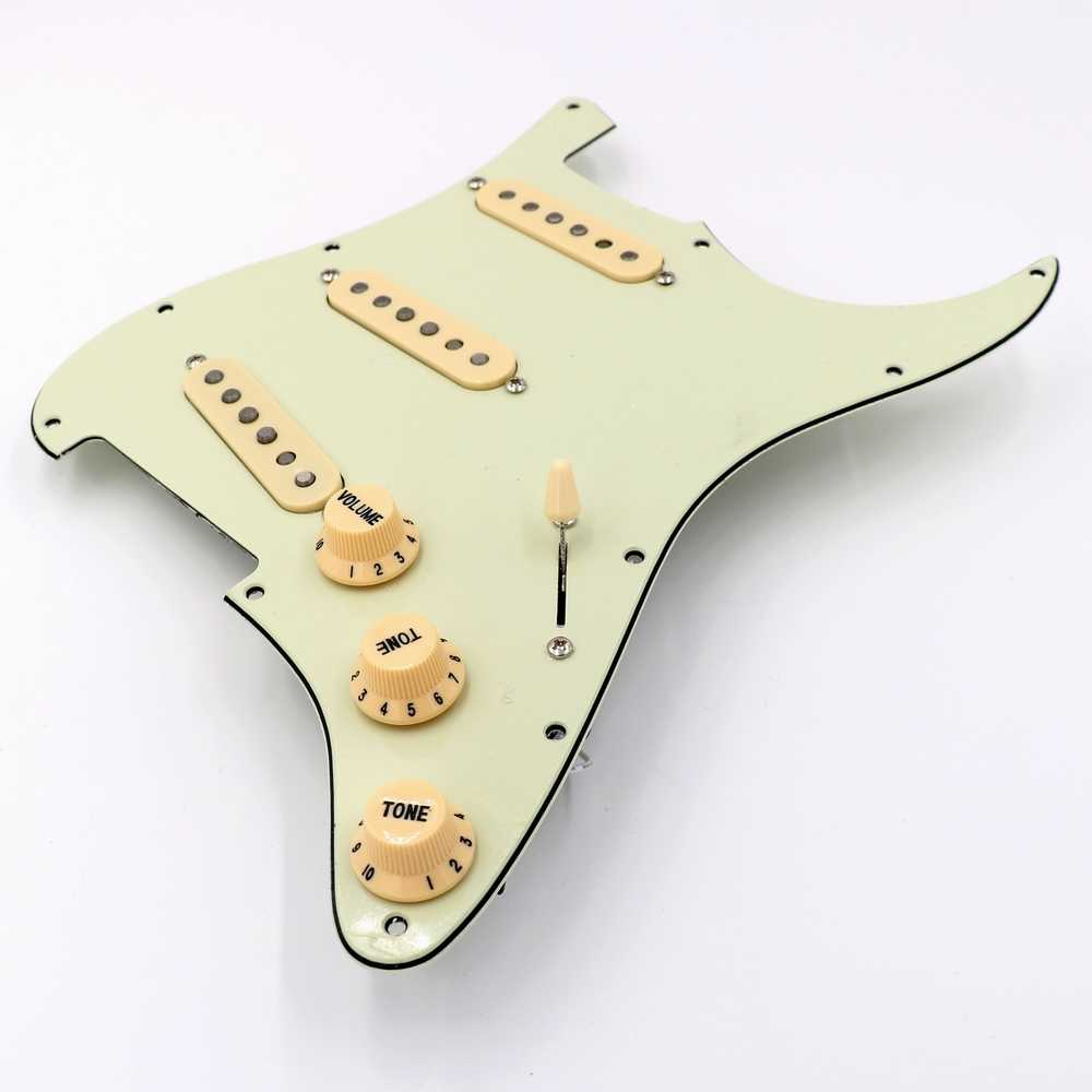 Prewired mint green ST Guitar Pickguard Assmebly With Vintage Alnico guitar pickups in white and black colors