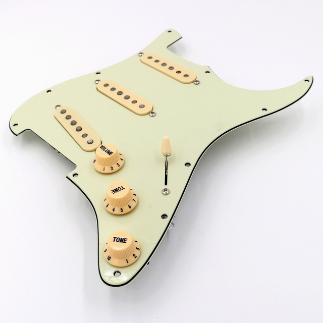 Prewired mint green ST Guitar Pickguard Assembly With Vintage DS53 Alnico guitar pickups in white and black colors