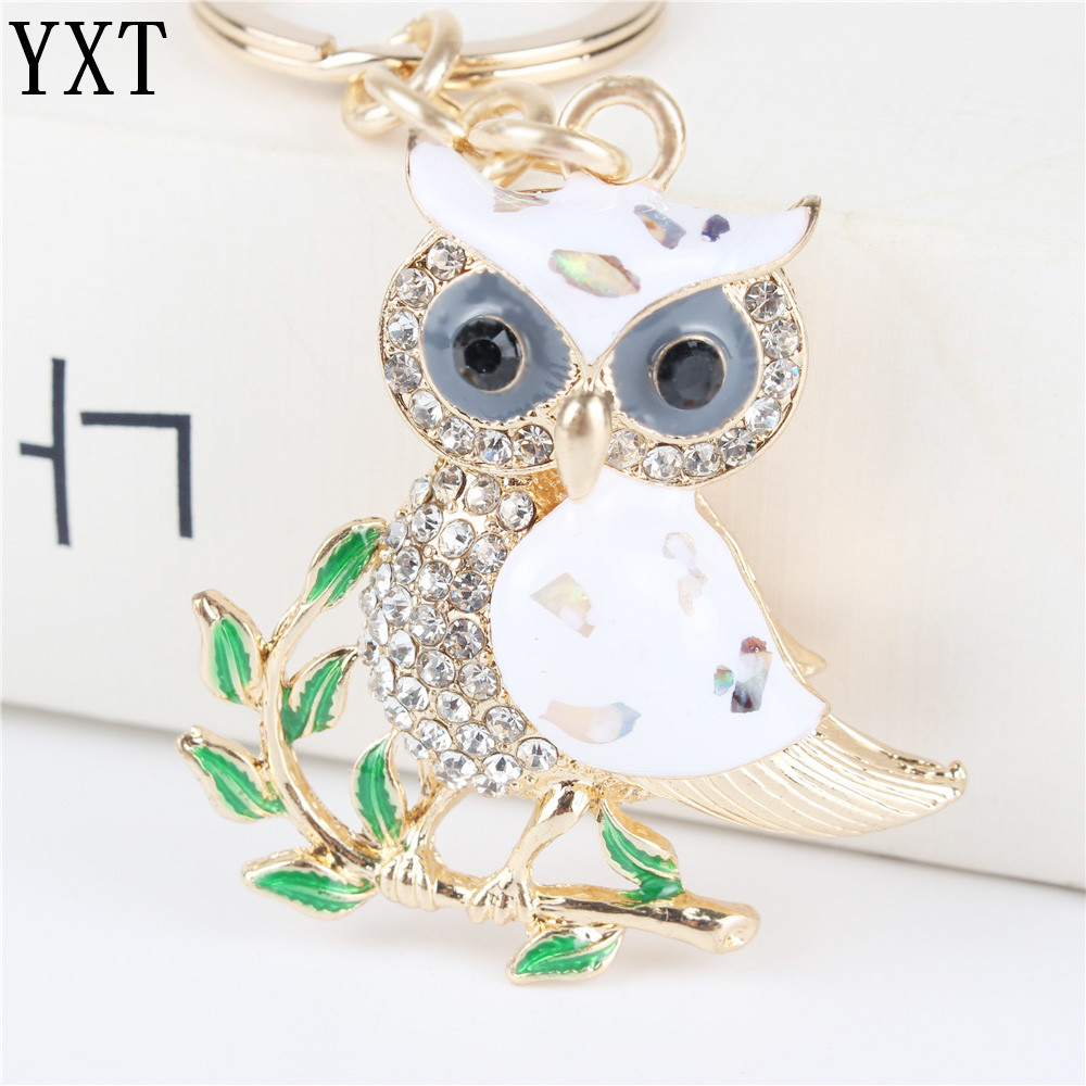 Cute Owl Branch Hvit Crystal Charm Pung Håndveske Car Key Nøkkelring Nøkkelring Party Bryllup Fødselsdag Party Girl Lover Gift