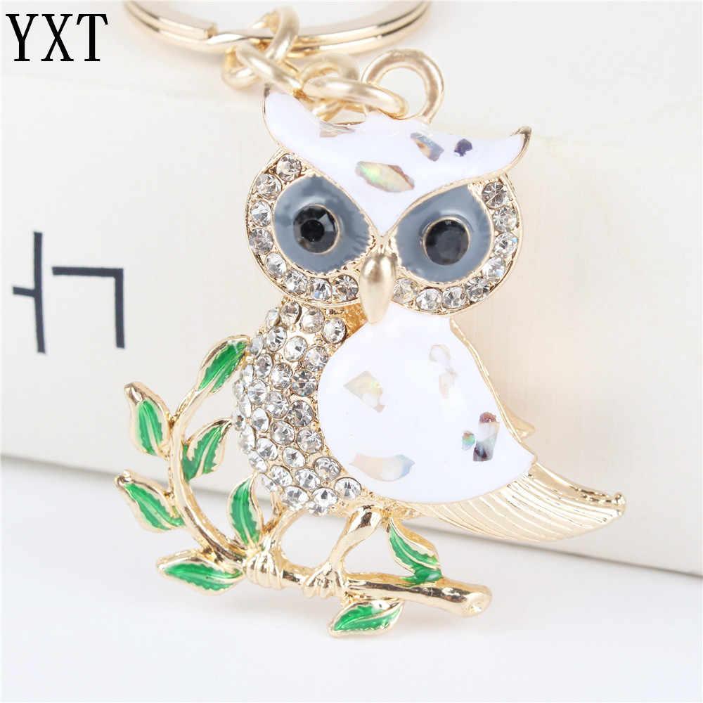 Dễ thương Owl Chi Nhánh Tinh Thể Màu Trắng Quyến Rũ Ví Túi Xách Chìa Khóa Xe Keyring Keychain Đảng Đám Cưới Sinh Nhật Bên Cô Gái Món Quà Người Yêu