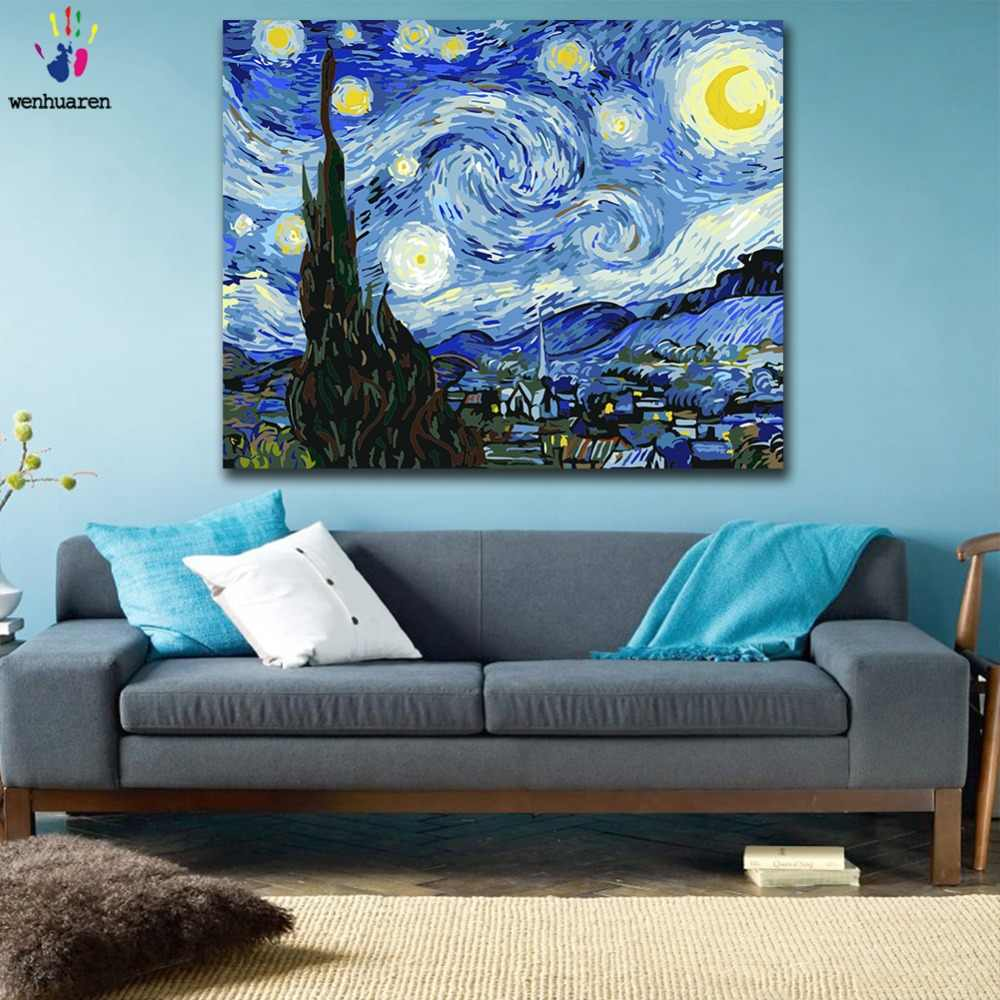 DIY colorings pictures by numbers with colors Van Gogh The Starry Night picture drawing painting by numbers framed Home