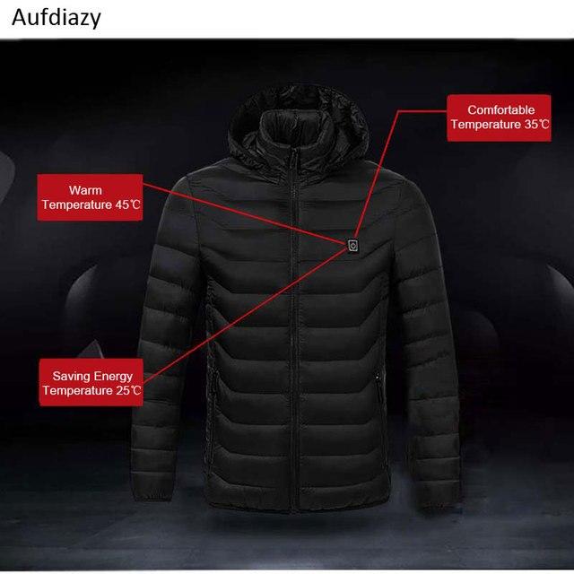 Aufdiazy USB Heating Jacket Men Women Smart Thermostat Hooded Heated Clothing Men's Waterproof Skiing Hiking Fleece Jacket IM023 2