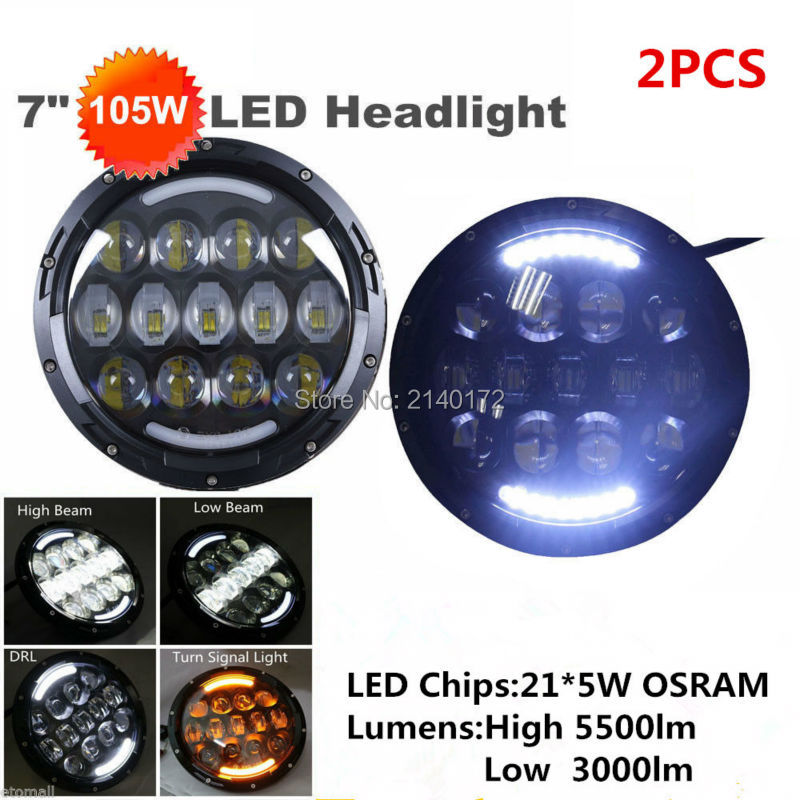 Pair 7inch Round 105W  LED Projector Headlight 7'' Motorcycle Headlight H4 DRL Hi / Lo for Jeep Wrangler JK OffRoad 1 pair 7 inch 78w cree chips h4 hi lo led headlight lamp angel eye drl bulb for jeep wrangler offroad