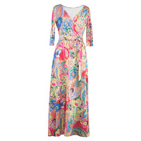 2016 Europe Vintage Autumn Newest Cotton V Neck Full Sleeve Colorful Floral Print Elegant Silm Ankle