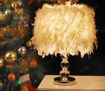 New Modern Fashion White 40cm Feather Iron E27 Table Lamp Lighting Fixture Bedroom Study Wedding House Table Lights ZL349