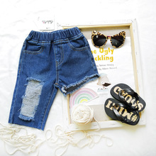 ANKRT 19 Old Pants Denim Tide Summer New KidsBig Hole Asymmetric Jeans Girls Fashion  Ripped Shorts.12M-6T