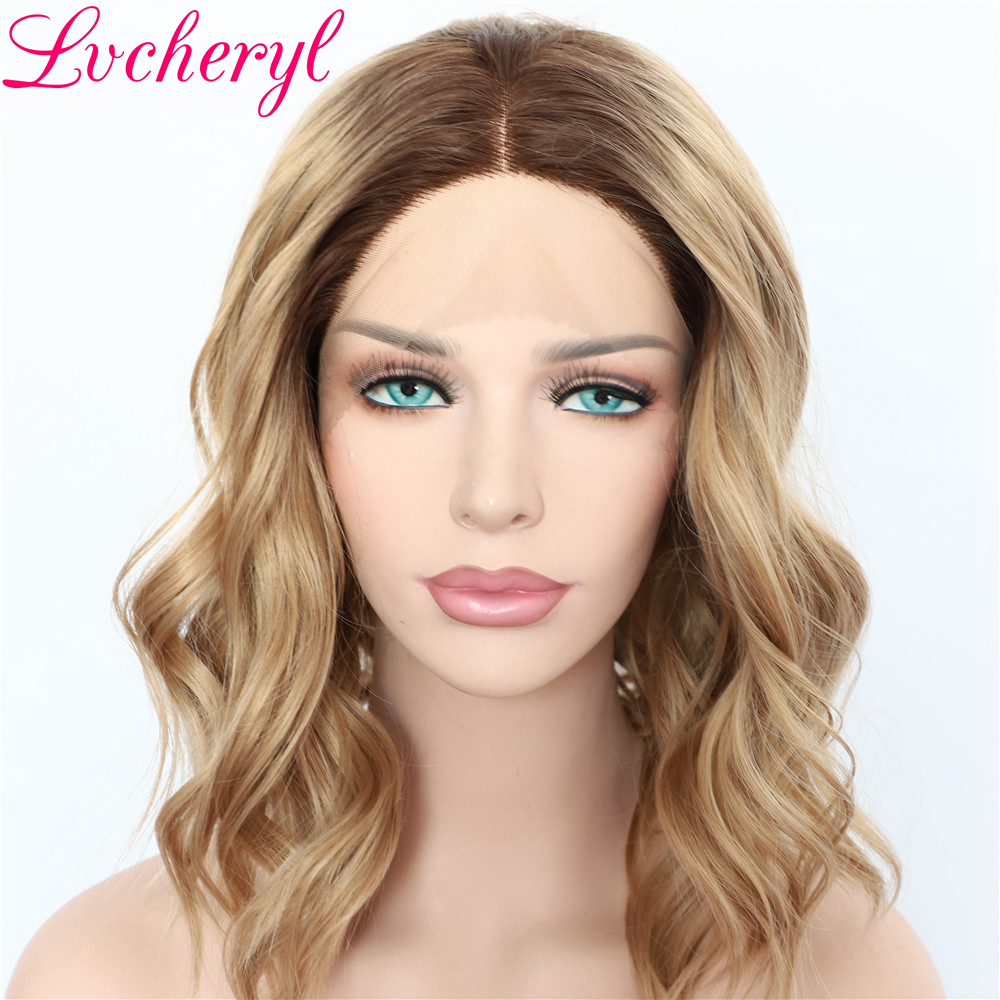 Lvcheryl Natural Looking Ombre Brown Hair Wigs Dark Roots Short Wavy Hair High Density Guleless Synthetic