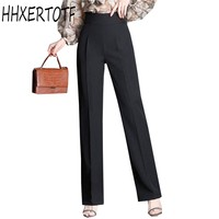 2018 spring summer Women Elegant Slim Pants Solid Color High Waist Straight Wide Leg Pants Plus Size Female OL Formal Trousers