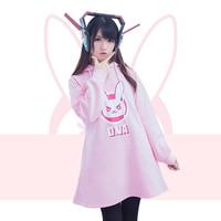 2017 Autumn Pink D Va Sweater Dresses Hooded With Ears Women Rabbit D Va Dresses Long