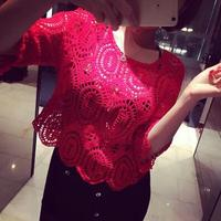 Autumn And Spring Women Clothing Three Quarter Cotton Lace Casual Fashionable Sexy & Club Full T-Shirt Purple White Red Green