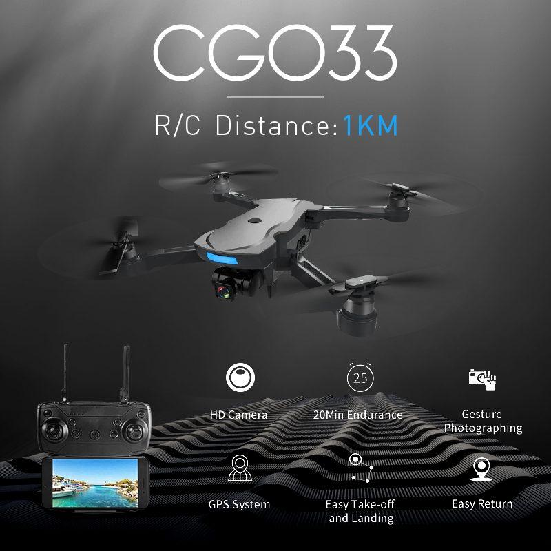 CG033 1KM R/C Distance WiFi FPV HD 2.0MP 1080P Gimbal Camera GPS Brushless Foldable RC Drone Quadcopter RTF Mode 2 Kids Gift
