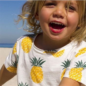 Baby Bobo Choses New Summer Boys T Shirt Kids Tops Cartoon Pineapple Pattern Girls T-shirt Boys Clothes Children T Shirts Чокер