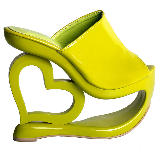 bc2f5ff98f55 LF40205 Retro Green Heart Heel Wedge Wedding Party Slip-ons Sandals Size  4 5 6 7 8 9 10