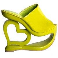LF40205 Retro Green Heart Heel Wedge Wedding Party Slip Ons Sandals Size 4 5 6 7