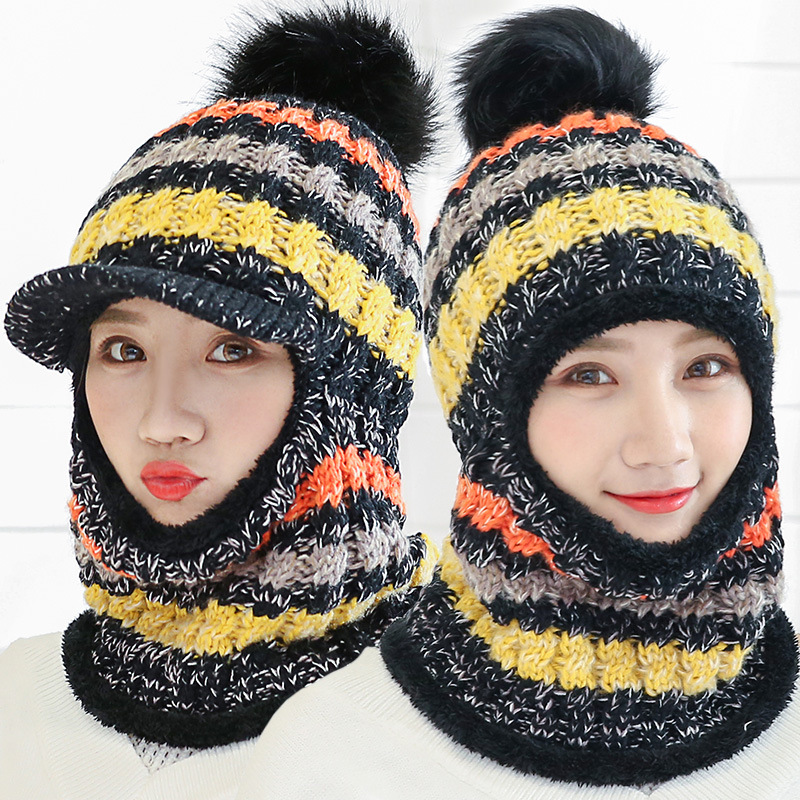 Winter Women Knitted Hat Scarf Set Hairball Pom Pom Fashion Wool Thickening Hat Collars Female Warm Beanie Hat Riding Snow Caps in Women 39 s Skullies amp Beanies from Apparel Accessories