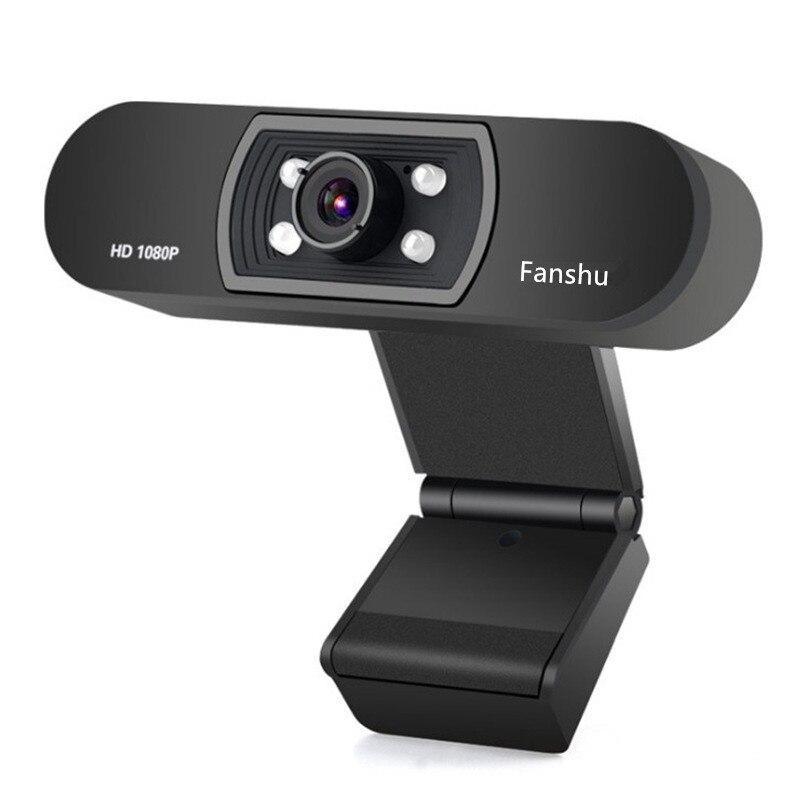 Fanshu USB 2.0 Web caméra numérique Full HD 1080 P Webcam avec Microphone Clip-on 2.0 mégapixels CMOS Web Cam pour ordinateur portable PC
